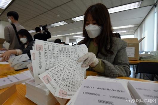 [사진]서울시장 보궐선거 투표용지 검수
