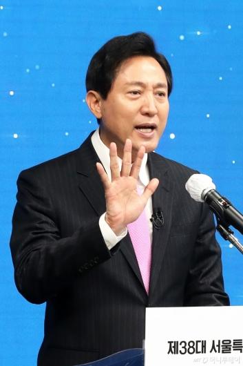 [사진]서울시장 취임사하는 오세훈