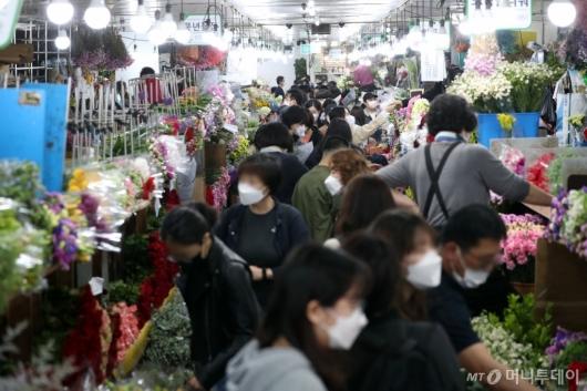 [사진]어버이날 앞두고 북적이는 꽃시장