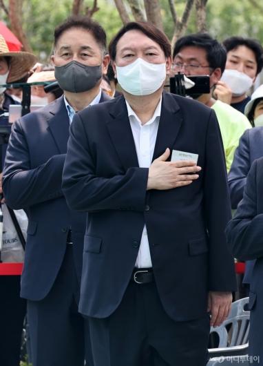 [사진]국민의례하는 윤석열
