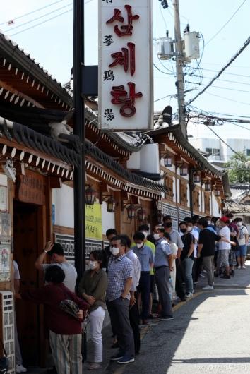 [사진]중복, 삼계탕 전문점 찾은 시민들