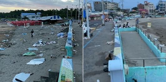 관광객들이 버린 쓰레기 더미…제주 해변