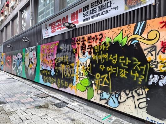 """""""페미, 여성단체 어디갔냐"""",""""혜경궁·부선""""…혐오 문구 낙서장 된 벽화"""