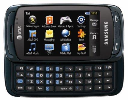 ↑삼성전자가 4월 1일 개막하는 북미 최대의 통신전시회인 'CTIA 2009'에서 선보이는 풀터치 메시징폰 '임프레션'.