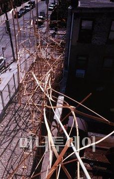 ↑2005년 브루클린 아트스페이스에 전시한 마작가의 작품. 미국서 마 작가는 대나무 희소성때문에 주로 나무로 작업해왔다.