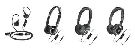 ↑젠하이저가 출시한 아이폰용 헤드폰. 왼쪽부터 IE8i, PX 200-IIi, HD 218i, HD 238i ⓒ젠하이저