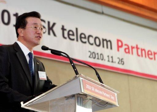 조기행 SK텔레콤 GMS CIC 사장이 26일 서울 워커힐호텔에서 열린 '2010 SK텔레콤 Partners' Day' 행사에서 축하 연설을 하고 있다. <br />