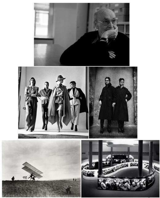 상= ⓒ성남훈, 파리 매그넘 갤러리에서, 2010년 10월, 중= ⓒHelmut Newton, They're Coming! 1981, ⓒJane Evelyn Atwood,국립 청소년 맹인학교, 1980 , 하= ⓒ Jacques-Henri Lartigue, The ZYX24 Takes Off, Rouzat,1910,  델피르가 기획안 윌리엄 클라인 전시, 국립사진센터CNP, 1987