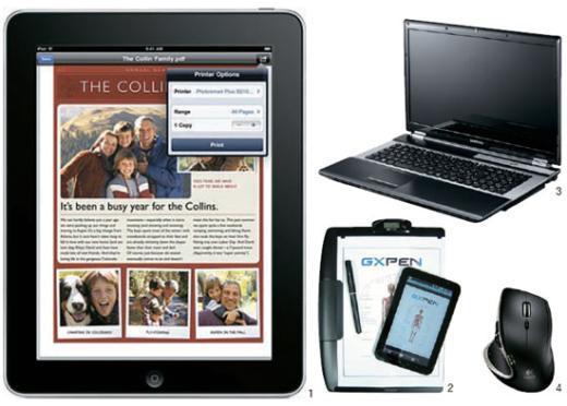 1 애플 아이패드의 '에어 프린트' 화면 2 글로비스원의 'GX펜' 3 삼성전자 노트북 RF시리즈 4 로지텍의 무선 마우스