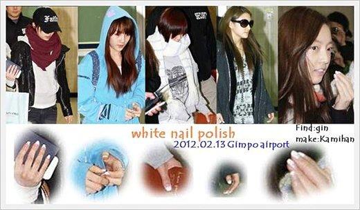 ↑같은 매니큐어를 칠한 카라 멤버들의 손을 한 누리꾼이 확대해 올린 사진(출처: 클리앙 카라당)