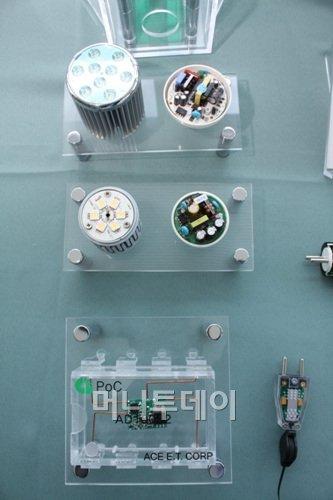 ↑에이스전자기술의 전력공급원칩(POC) 제품들.