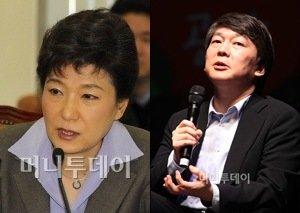 ↑박근혜 한나라당 전 대표(왼쪽)와 안철수 서울대 융합과학기술대학원장