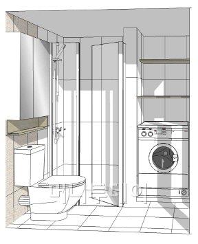 ↑동탄 쁘띠린 오피스텔 욕실 내부. 세탁실이 붙어 있어 공간이 비교적 넓다.