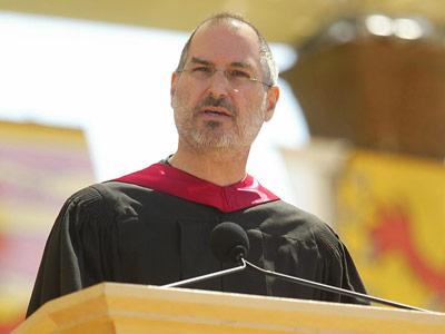 고(故) 스티브 잡스 애플 창립자가 지난 2005년 미국 스탠퍼드대 졸업식에서 연설한 모습 News1
