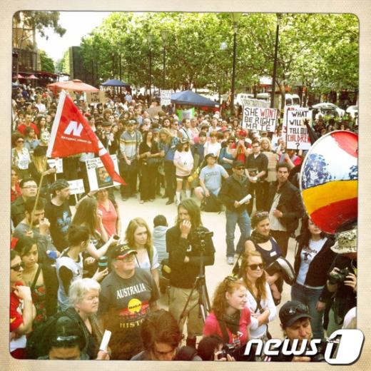 15일 호주 멜버른에서 '멜버른을 점령하라' 시위대가 시위를 준비하고 있다.(사진=occupymelburoune.org)  News1