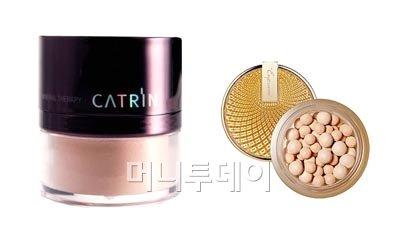 ▲카트린 '매직 커버링 미네랄', 엔프라니 '골드 레이:디 비비 구슬파우더'