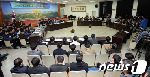 강남권 6개서 합동토론회에서황운하 송파경찰서장이 모두발언을 하고 있다.  News1 양동욱 기자