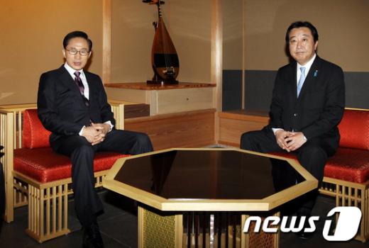 [사진]마주앉은 이명박 대통령-노다 요시히코 日총리
