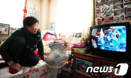 [사진]한일 정상회담 지켜보는 위안부 피해자 할머니