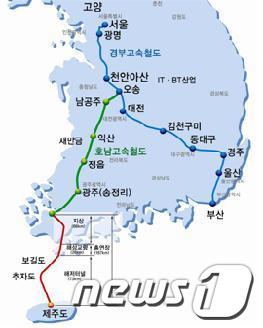 전남~제주 해저고속철도 노선도/제공=전남도 News1