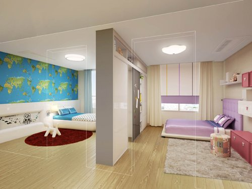 ↑트랜스폼 평면인 스마트 핏(smart fit) 중 초중등 성장기 자녀를 둔 40대를 위한 골드(Gold) 타입. 무빙 퍼니쳐(가운데)를 움직여 양쪽 방의 크기를 조정하거나 하나의 공간으로 오픈 해 활용할 수 있다. ⓒ한화건설