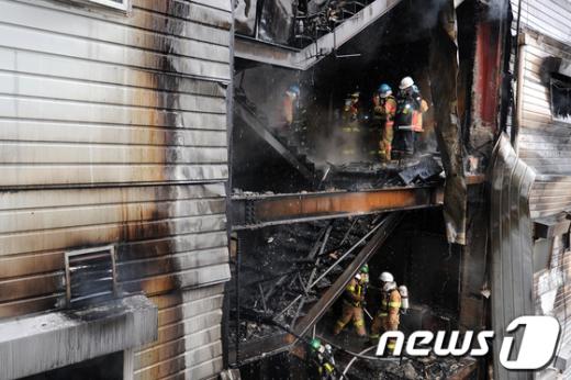 [사진]석촌호수 인근 6층 건물 화재