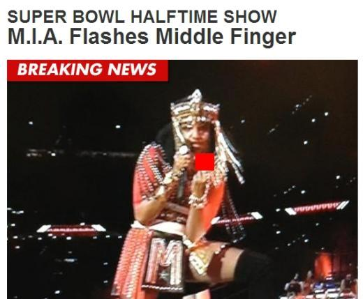 영국 여가수 엠아이에이(사진)가 슈퍼볼 하프타임 공연 도중 카메라를 향해 손가락 욕설을 해 물의를 일으켰다. (사진출처=TMZ닷컴 화면캡쳐)