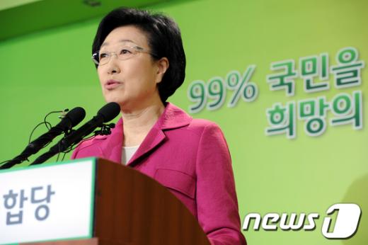 [사진]한명숙 대표 대국민기자회견
