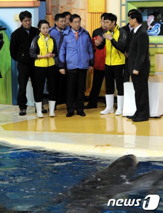 [사진]돌고래 공연장 찾은 박원순 시장
