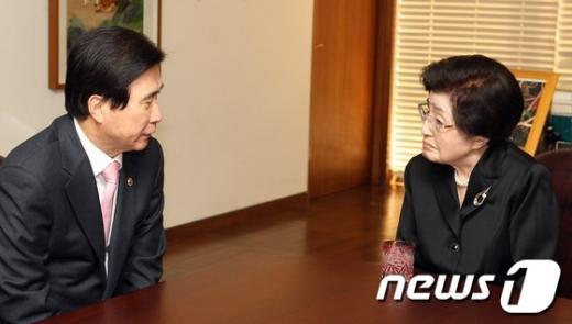 [사진]환담하는 이희호 여사-고흥길 특임장관