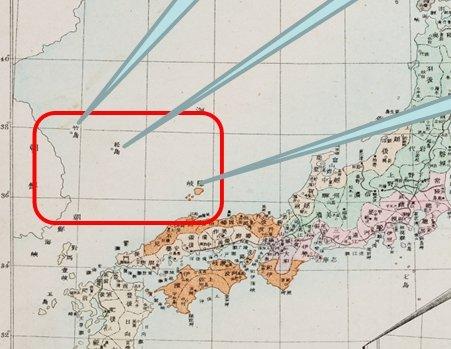 일본이 독도가 시마네현 소관이라고 주장하지만 고지도 속에서는 울릉도와 독도가 시마네현을 표시하는 황색이 칠해져 있지 않다.