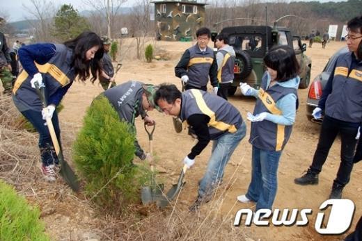 KB국민은행 임직원들과 육군 2사단 장병들이30일 열린 에코트리캠페인에 참여해 나무를 심고 있다.. News1