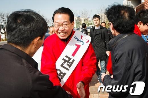 [사진]권영세 후보, '잘 부탁드립니다'