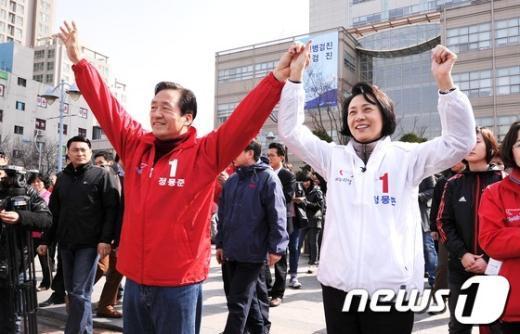 [사진]부인과 함께한 정몽준 후보