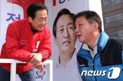[사진]정몽준 후보 유세 참석한 허재 감독