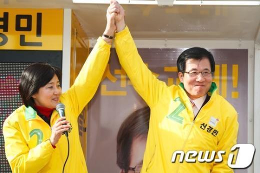 [사진]박영선, '신경민을 지지해주세요'