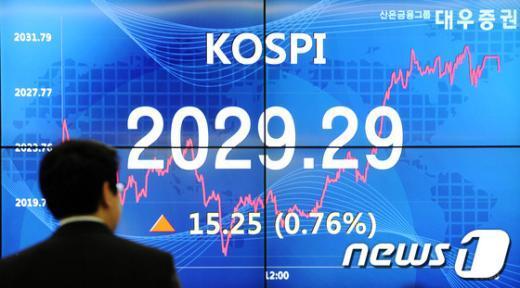[사진]한국 신용전망 상향...코스피 나흘 만에 상승