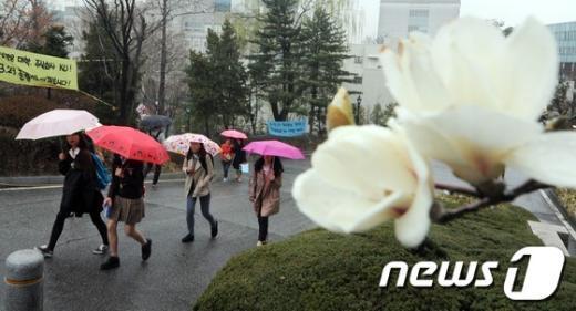[사진]봄비에 촉촉히 젖은 캠퍼스