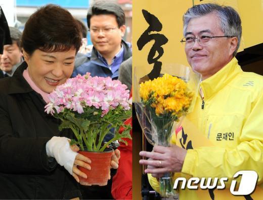 [사진]꽃을 든 박근혜-문재인