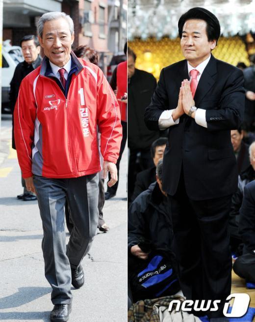 [사진]김종훈 VS 정동영 '치열한 표심잡기'