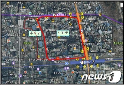 리모델링 활성화구역이 확대지정된 종로구 돈의구역의 항공사진./자료제공=서울시청 News1