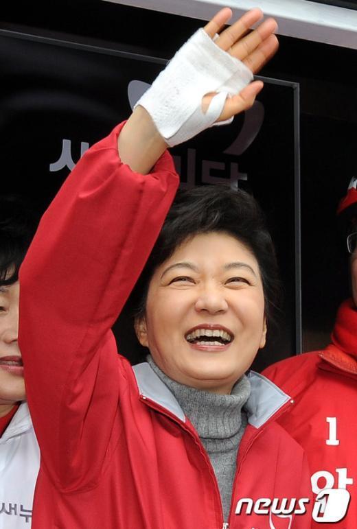 [사진]박근혜,'반갑습니다'