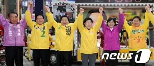 [사진]대전 야권연대 합동유세