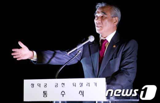 [사진]최광식 장관 '금천 통수식은 역사적 순간'
