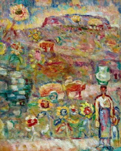 ↑박성환 '물동이 인 여인' 65.1x50cm(15호), 캔버스에 유채, 1973년