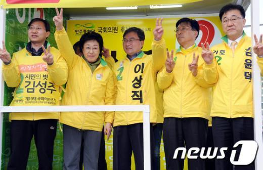 [사진]전주 지원유세 나선 한명숙 대표