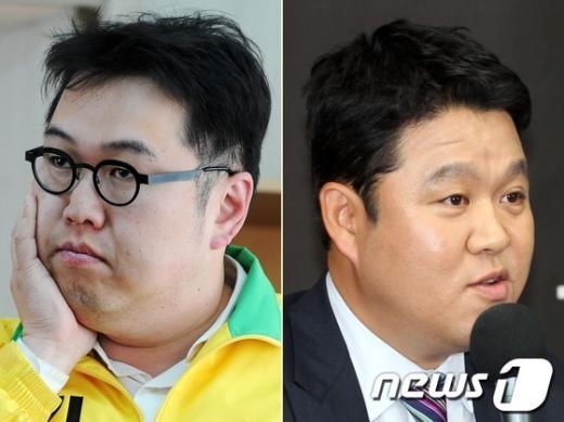 김용민 민주통합당 후보(왼쪽)와 김구라씨(오른쪽)  News1 이해인 기자