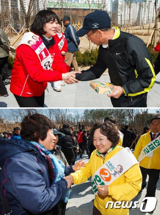 [사진]지지 호소하는 도봉구갑 유경희-인재근 후보