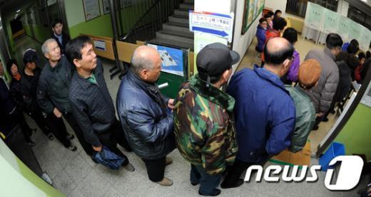 [사진]유권자들 줄 선 투표소
