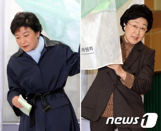 [사진]박근혜-한명숙 '누가 웃을까?'